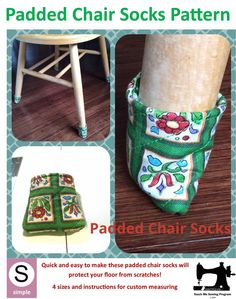 Protect your floors by making these lovely chair socks. They are padded with felt so offer the ultimate Chair Socks, Sewing Projects, Projects To Try, Cool Things To Make, How To Make, Floor Patterns, Chair Pads, Pdf Sewing Patterns, Sewing Clothes