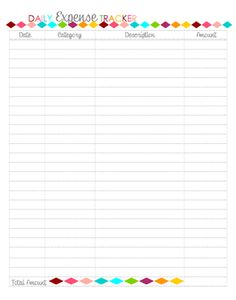Daily Expense Tracker Printable - Sherbert Cafe