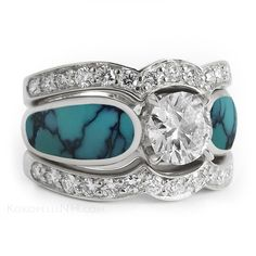 Dark Blue Chinese Turquoise Engagement Ring With Two Bands