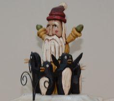 Whale Santa Primitive Folk Art Wood Carving by JoyHallFolkArt