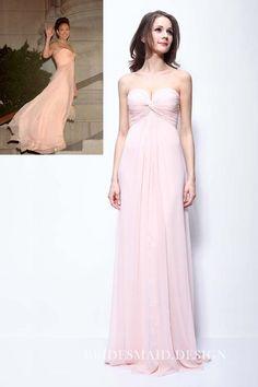 ba8cc4be410 Jennifer Lopez Strapless Pink Chiffon Pleated Empire Waist Bridesmaid Dress