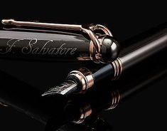 ELEGANT Fountain Pen with Medium Metal Tip Nib with Ink Refill Rose Gold Trim