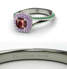 As engraved on the Ariel, The Little Mermaid ring, 'Part of your world' --- Extravagant, Enthralling Disney Princess-Inspired Rings Disney Princess Engagement Rings, Disney Rings, Disney Jewelry, Ring Engagement, Bling Bling, Little Mermaid Wedding, The Little Mermaid, Mermaid Ring, Ring Set