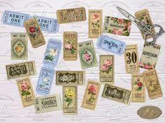 Rose Tickets Strips Printable Journal tickets Digital download   Etsy Journal Pages, Junk Journal, Journal Ideas, Journals, Bullet Journal, Printable Tickets, Benjamin Bunny, Book Labels, Garden Journal