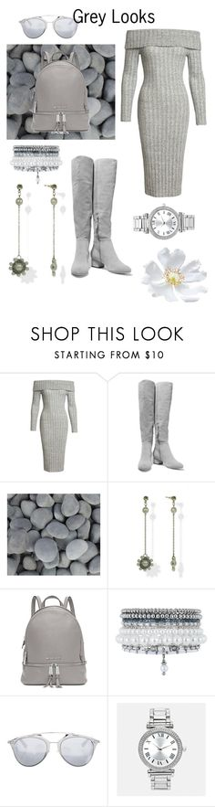 """Grey Looks"" by tonhr ❤ liked on Polyvore featuring Sans Souci, Halston Heritage, Michael Kors, Monsoon, Christian Dior and Avenue"