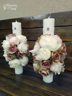 Flowers of Soul: Lumanari de cununie Wedding Bouquets, Wedding Flowers, Wedding Day, Baptism Candle, Christmas Centerpieces, Diy Flowers, Pillar Candles, Special Occasion, Diy And Crafts