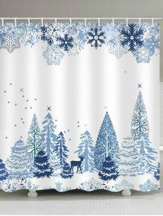 Christmas Snowflake Printed Waterproof Shower Curtain