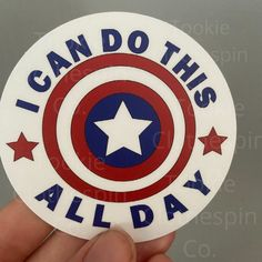 I Can Do This All Day Captain America Inspired Die Cut   Etsy Captain America Sheild, Captain America Party, Life And Death Brigade, Captan America, Kid Cobra, Day Of The Dead Art, Love Stickers, I Can, Vinyl Decals
