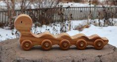 Redwood Caterpillar Push Toy for Children by WoodenGiraffeToys Push Toys, Handmade Wooden Toys, Wood Toys, Caterpillar, Toy Chest, Kids Toys, Woodworking, Children, Simple