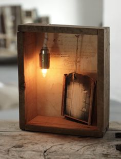 "HANDMADE Photo Lightbox #235 _ Made in October 2015 | Reclaimed wood box + Handmade self semi-framed original photo + dimmered lamp + old ""letter"" sheet 