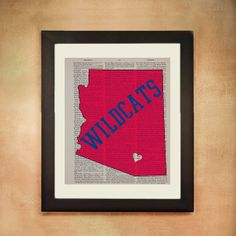 Arizona Wildcats Dictionary Art Print University by Lexiconograph