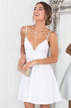 Cheap homecoming dresses A-Line Spaghetti Straps Short White #Short Homecoming Dress#HomecomingDresses#Short PromDresses#Short CocktailDresses#HomecomingDresses