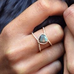 14kt rose gold and diamond Petite Triangle Double Band Labradorite rin – Luna Skye by Samantha Conn
