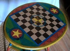 Antique Oval Painted Checkerboard Side Table by CheckerboardSquare