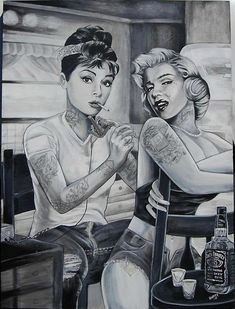 audrey hepburn, cigar, jack daniels, marilyn monroe, black and white,tattoo