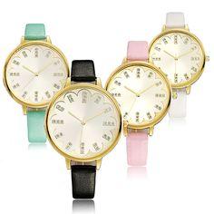 Sale 20% (3.79$) - Fashion Elegant Sun Wen Lace Golden Case Thin PU Leather Band Analog Quartz Watch