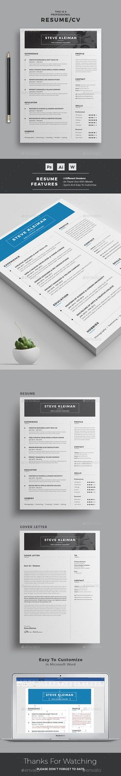 Word Resume Template | 2 color versions + 2 Header Options | Professional Design | Easy Customization | Instant Download