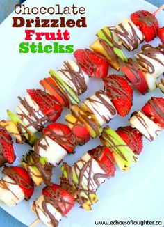 Chocolate Drizzled Fruit Sticks are the perfect dessert with fresh fruit!