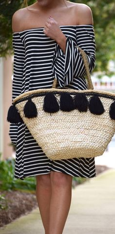 #spring #outfits  Black Striped Off The Shoulder Dress & Beach Tote Bag