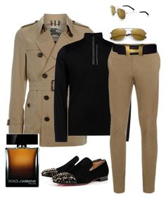 """""""Untitled #376"""" by sanchez-drummond ❤ liked on Polyvore featuring Burberry, Christian Louboutin, HPE Clothing, Brioni, Hermès, Dolce&Gabbana and Yves Saint Laurent"""
