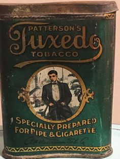 Patterson's Tuxedo Tobacco Tin - hands separate version with 4 items on the table. Coffee Tin, Cigarette Holder, Vending Machines, Tin Cans, Vintage Tins, Tin Boxes, Nostalgia, Sad, Container