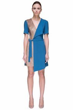 'Nude Turquoise Time' Multi Textured, Multi-layered, Asymmetric Mini Dress LAVELIQ