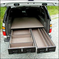 Ideas for SUV storage, including secure long gun storage - Survivalist Forum Truck Bed Storage, Van Storage, Truck Bed Drawers, Storage Drawers, Diy Drawers, Truck Bed Organizer, Vehicle Storage, Accessoires Camping Car, Truck Bed Camping