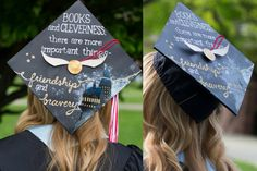 "Harry Potter Graduation Cap - Hermione Granger Quote ""Books and Cleverness, there are more important things - Friendship and Bravery."""