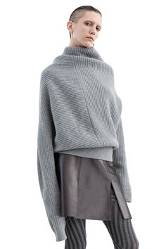 Love the unusual shape. Jacy rib stitch sweater with deconstructed volume #AcneStudios #PF15