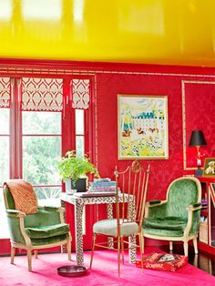 """BackNext  Victoria Pearson    View LargerView Thumbnails      Bold Color Combinations    Red damask wall and a lacquered yellow ceiling prove Sommers's description of her study as the """"anything-goes room."""""""