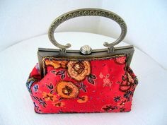 Tote Bag red floral fabric / Embroided sateen handbag by woolwarm, $40.00