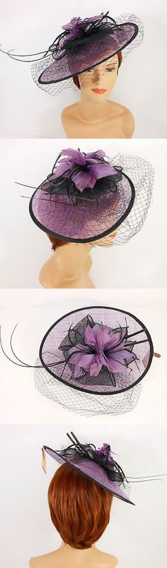 Womens Formal Hats 131476  New Church Derby Cocktail Sinamay Fascinator Hat  W Veil Headband 3624 180164d1526d