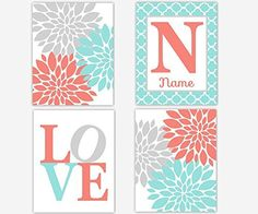 Baby Girl Nursery Wall Art Coral Aqua Teal Gray Flower Burst Girl Room Wall Decor Floral Prints Personalize Name Art Baby Nursery Decor SET OF 4 UNFRAMED PRINTS by Dezignerheart Designs, http://www.amazon.com/dp/B01EAMPWHO/ref=cm_sw_r_pi_dp_PRhqxb1MBXA4M