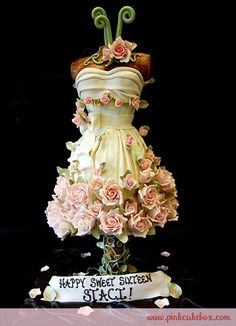"This is a great cake idea for the ""Will you be my bridesmaid party"" or a Sweet 16."