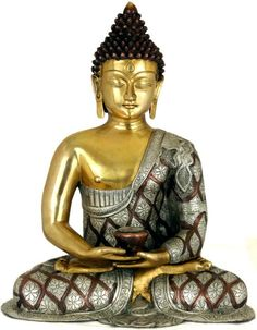 Lord Buddha in Dhyana Mudra (Robes Decorated with Lotus Flowers), Brass Brass Statue Gautama Buddha, Buddha Buddhism, Buddha Kunst, Buddha Art, Ganesha, Buda Zen, Buddha Decor, Spiritual Images, Little Buddha