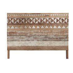 Recycled wood patterned headboard L 160 cm Tikka Wood Burning Patterns, Wood Patterns, Living Room Furniture, Diy Furniture, Pulaski Furniture, Into The Woods, Wood Headboard, Affordable Furniture, Diy Bed
