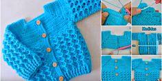 Diamond Stitch Baby Jacket Crochet Tutorial