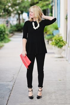 j brand jeans, @Anthropologie necklace, + a pop of @Clare Vivier color | fall outfit inspiration from @Chassity Evans