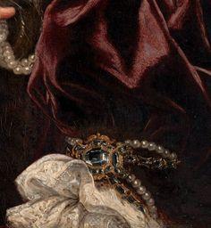 """""""Portrait of a Woman"""" (detail) by Giovanni Battista Gaulli (1639-1709)."""