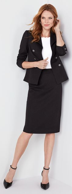 """Make your """"what to wear"""" morning moment easy with a coordinated blazer and pencil skirt. Knit Blazer, Her Style, Work Wear, What To Wear, Mini Skirts, Pencil, Military, Knitting, Easy"""