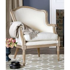 Baxton Studio Oak Charlemagne Traditional French Accent Chair ($400) ❤ liked on Polyvore featuring home, furniture, chairs, accent chairs, baxton studio, oak chairs, oakwood furniture, french accent chair and baxton studio chair