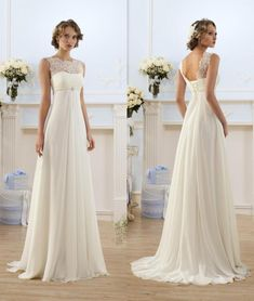 2019 lace chiffon empire wedding dresses sheer neck capped sleeve a line long chiffon wedding dresses summer beach bridal gowns hot sale - 2019 lace chiffon empire wedding dresses sheer neck capped sleeve a line long chiffon wedding dress - Bohemian Beach Wedding Dress, Wedding Dress Chiffon, Lace Mermaid Wedding Dress, Best Wedding Dresses, Lace Chiffon, White Chiffon, Chiffon Dresses, Wedding Beach, Ball Gown Wedding