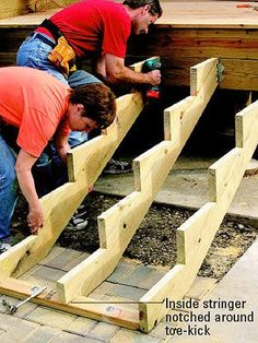 Gardens Discover How to Build Deep and Wide Deck Stairs - Building stairs - Stairs Stringer Deck Steps How To Build Porch Steps How To Make Stairs Building Stairs Deck Building Plans Deck Construction Back Deck Pallet Ideas Porch Stairs, Stairs For Deck, Bed Stairs, Exterior Stairs, Outdoor Stairs, Stairs Stringer, Stair Stringer Layout, Building Stairs, Deck Building Plans
