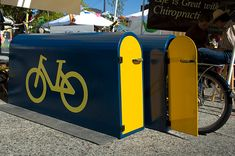 Bike hangar, Portland. Click for source and visit the Slow Ottawa 'Street Furniture' and 'Nice Racks' boards for more innovative designs.