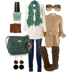 """teal & brown"" by htotheb on Polyvore"