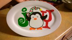 Dollar general plate , paint your plate with acrylic paint , I let mine dry and touched up 2/3x, once dry I sprayed with clear acrylic sealer,let  then coat with mod podge. dry then ready to give as a gift. these were a hit this year