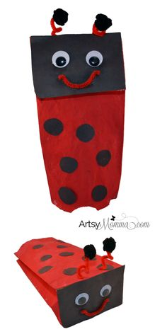 Easy Paper Bag Ladybug Puppet for Imaginative Play Ladybug Craft: Make a Paper Bag Puppet Lady Bug, Art For Kids, Crafts For Kids, Kid Art, Bug Activities, Spring Activities, Paper Bag Crafts, Paper Bags, Paper Craft