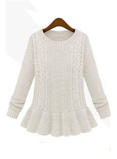Multi Color Falbala Hem Long Sleeve Sweater