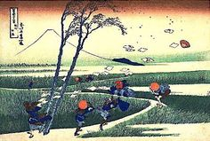 Katsushika Hokusai, 36 prespectivas del monte Fuji visto desde diferentes ángulos (1830-1833).