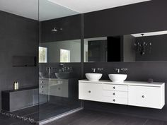Floating Free  To make his master bathroom feel slightly larger in space, Keith repurposed an IKEA media cabinet into a floating vanity. The creative spin on a traditional fixture freed up floor space, creating the illusion of more square footage.Floating Free - 10 Big Ideas for Small Bathrooms on HGTV